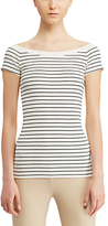 Lauren Ralph Lauren Off Shoulder T-Shirt, Herbal Milk/Polo Black