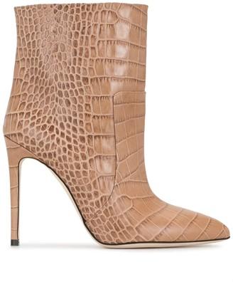 Paris Texas Crocodile-Effect Leather Ankle Boots