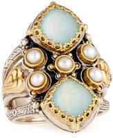 Konstantino Amphitrite Cushion Agate & Pearl Statement Ring, Size 7