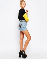 The Ragged Priest High Waist Vintage Denim Shorts With Eagle Patches