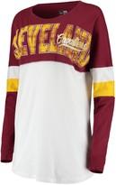 New Era Women's White/Wine Cleveland Cavaliers Baby Jersey Contrast Long Sleeve Crew Neck T-Shirt