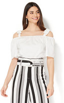 New York & Co. 7th Avenue - Bow-Accent Off-The-Shoulder Shirt - White