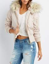 Charlotte Russe Faux Fur Hooded Bomber Jacket