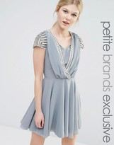 Maya Petite Short Sleeve Mini Dress With Embellished Sleeves And Wrap Front Detail