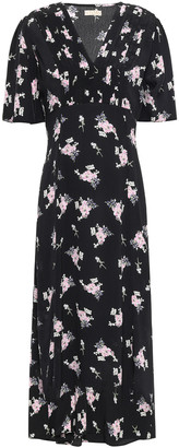 By Ti Mo Pintucked Floral-print Crepe Midi Dress