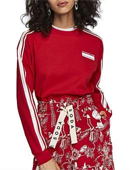 Scotch & Soda Cropped Sweat With Stripes On Sleeves