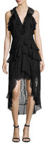 Haute Hippie In the Name of Love Silk High-Low Dress, Black