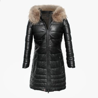 Oakwood Mary Black Leather Long Line Quilted Jacket