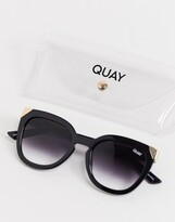 Thumbnail for your product : Quay Noosa Metal womens oversized cat eye sunglasses in black