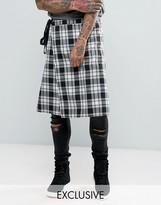 Reclaimed Vintage Inspired Kilt In Black Plaid