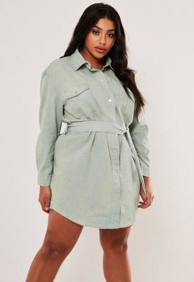 Missguided Plus Size Green Belted Oversized Denim Shirt Dress