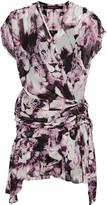Roberto Cavalli Wrap-effect ruffled printed silk-voile mini dress