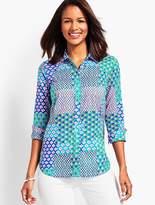 Talbots Island Patchwork Print Long Sleeve Shirt
