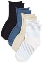 Hue Roll Top Shortie Socks, Set of 4