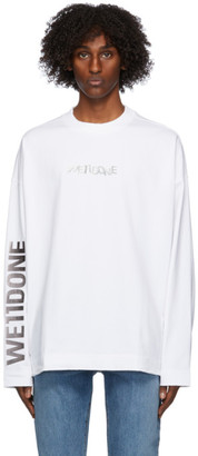 we11done White Metal Logo Long Sleeve T-Shirt