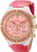 Versace Women's 28CCP15D111 S111 Dv One Cruise Rose Gold IP Pink Topaz Pav\xe9 Chronograph Watch
