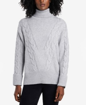 Vince Camuto Petite Turtleneck Roll-Cuff Cable-Stitch Sweater
