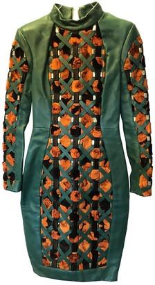 Balmain Green Leather Dress for Women