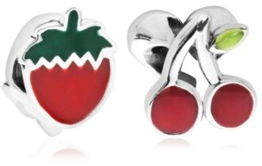 Rhona Sutton 4 Kids Children's Enamel Strawberry Cherry Bead Charms - Set of 2 in Sterling Silver