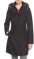 Laundry by Shelli Segal Women's Pillow Collar Raincoat With Detachable Quilted Hooded Bib Insert