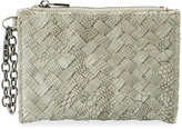 Neiman Marcus Woven Faux-Leather Reptile Keychain Pouch, Light Gray