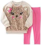 Kids Headquarters Baby Girls Two-Piece Faux Fur Deer Sweater and Leggings Set