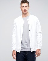 Asos Jersey Bomber Jacket With Snaps In White