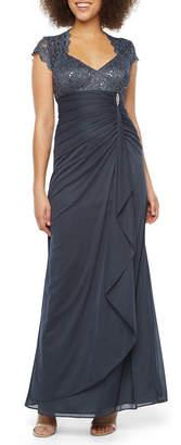 Dj Jaz DJ Jaz Short Sleeve Embellished Evening Gown
