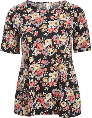 Peek A Boom Peek-a-BOOM Women's Tee Shirts Black - Black & Rose Floral Swing Tee - Plus