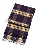 Black Brown 1826 Acrylic Navy Plaid Scarf