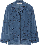 Valentino Swallow Metamorphosis Printed Silk Crepe De Chine Shirt - Blue