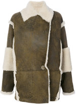 Drome contrast shearling coat - women - Leather/Cupro/Lamb Fur - XS