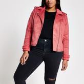 River Island Womens Plus Pink suedette quilted biker jacket