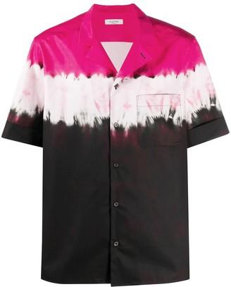 Valentino Dip Dye Print Short Sleeve Shirt Fluorescent Pink