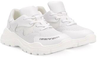 Emporio Armani Kids TEEN perforated logo sneakers
