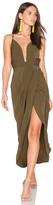 Shona Joy Leticia Plunged Wire Draped Maxi Dress