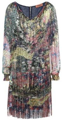 Missoni Georgette-paneled Fringed Printed Crepe Mini Dress