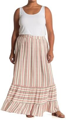 GOOD LUCK GEM Tiered Stripe Print Maxi Skirt