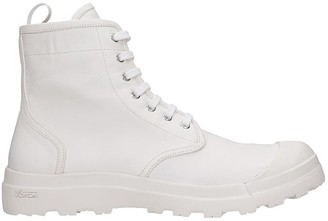 Officine Creative Pallet 001 Combat Boots In White Leather