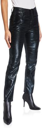 Frame Le Sylvie Slender Straight Crocodile Coated Jeans
