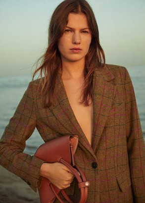 MANGO Double strap mini basket bag medium brown - One size - Women