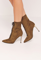 Missguided Gold Heeled Lace Up Ankle Boots Brown