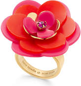 Kate Spade Gold-Tone Pink Crystal Accent Flower Ring