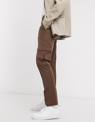 ASOS DESIGN skinny smart trouser in brown with cargo pockets