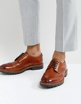 Base London Trench Leather Brogue Shoes In Tan