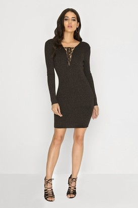 Girls On Film Black Knitted Lurex Dress