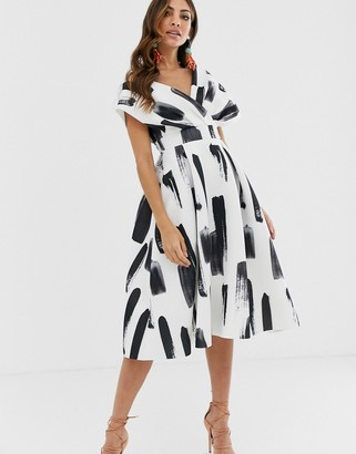 Asos DESIGN fallen shoulder midi prom dress with tie detail in brush stroke print