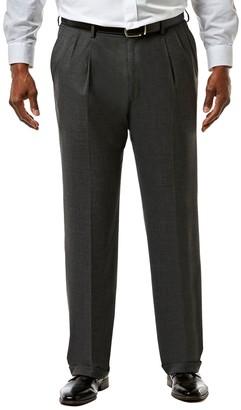 Haggar Big & Tall J.M. Premium Classic-Fit Sharkskin Stretch Pleated Suit Pants