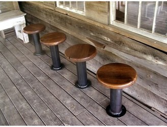 The Strong Oaks Woodshop Bolt Down Urban Industrial Pedestal Bar Stools -- Bar Height (Set of 4
