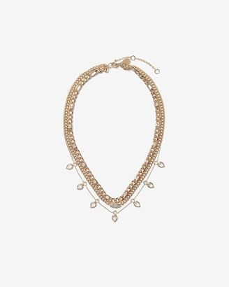 Express Three Row Thick Chain Pendant Drop Necklace